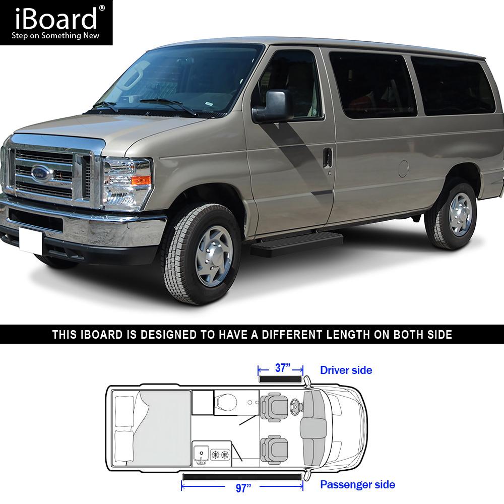 Running Board Side Step 6in Black Fit Ford Econoline Full Size Van 99-14