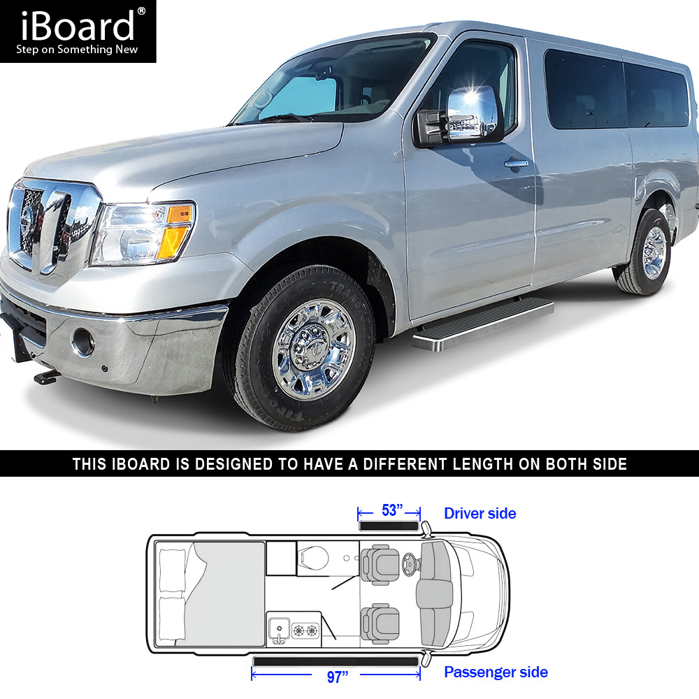 Running Board Side Step 6in Silver Fit Nissan NV 1500/2500